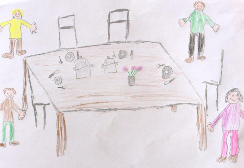 Kinderzeichnung Noah - gemeinsame Mahlzeit